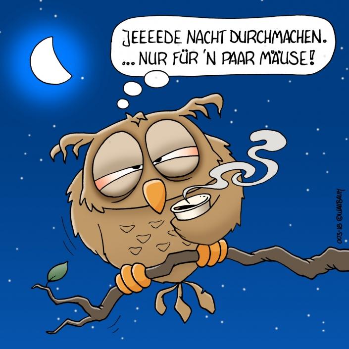 Cartoon Eule ist müde
