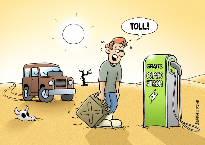 Cartoon über E-Mobility Ladestation