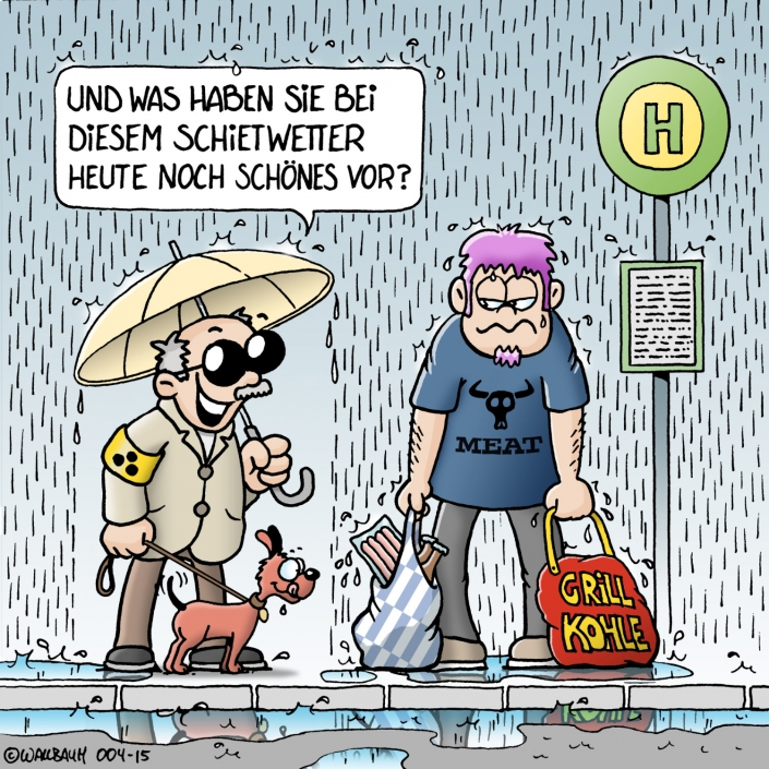 Cartoon Bushaltestelle im Regen