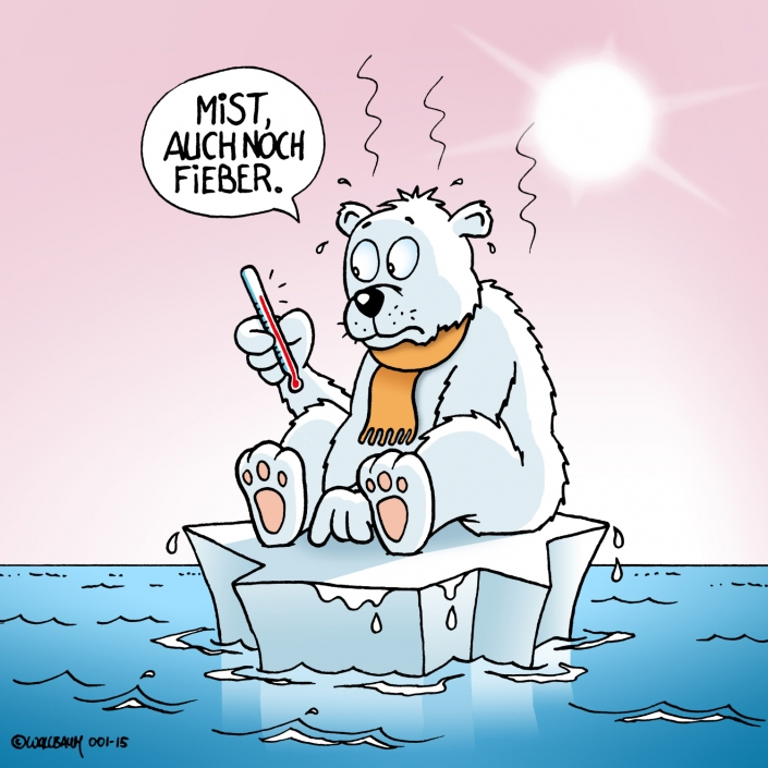 Cartoon Eisbär Klimaerwärmung