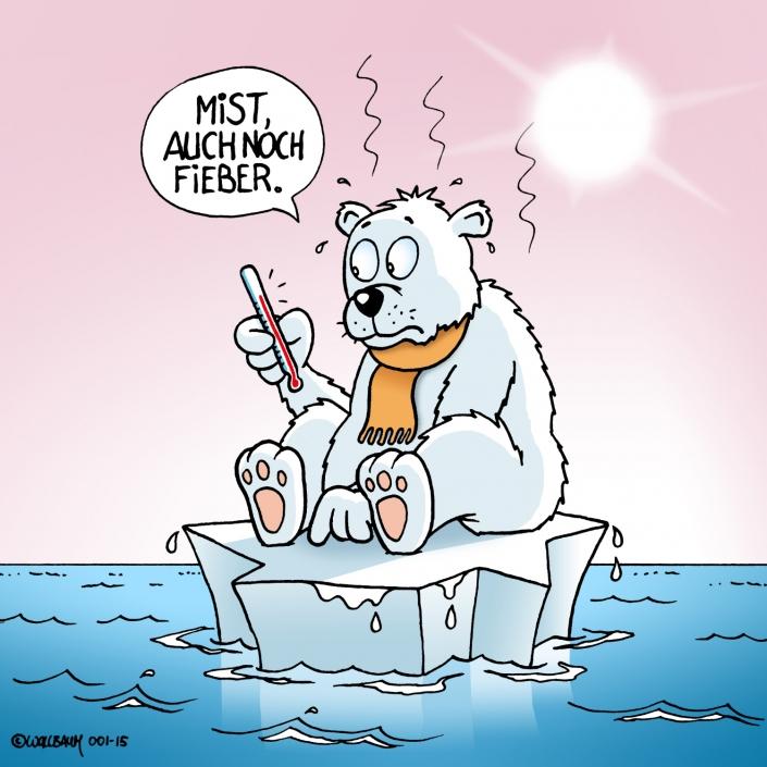 Cartoon über Eisbär und Klimawandel