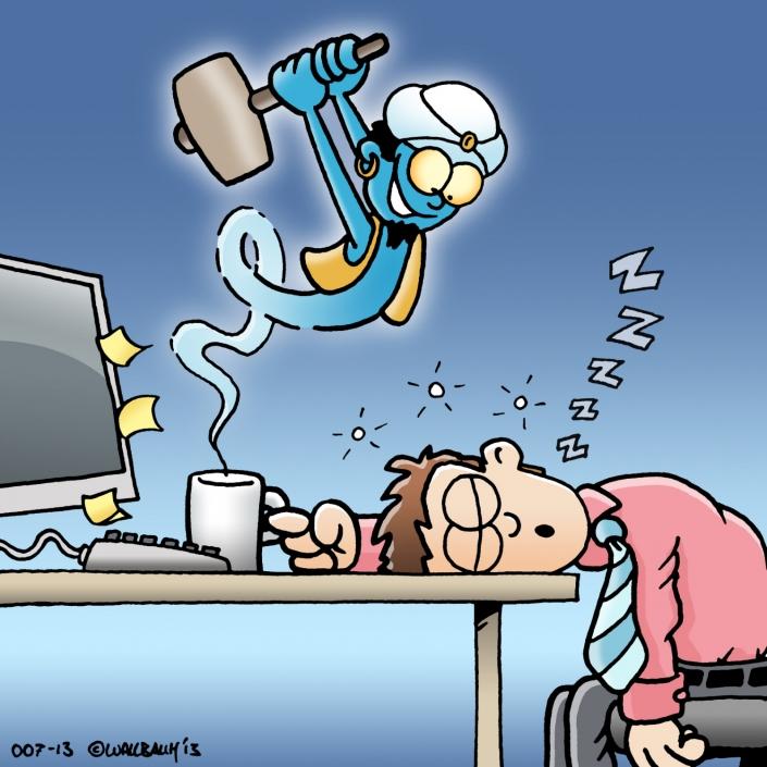 Cartoon Kaffee Geist im Büro