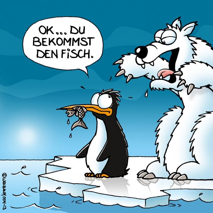 Cartoon mit Pinguin und Eisbär
