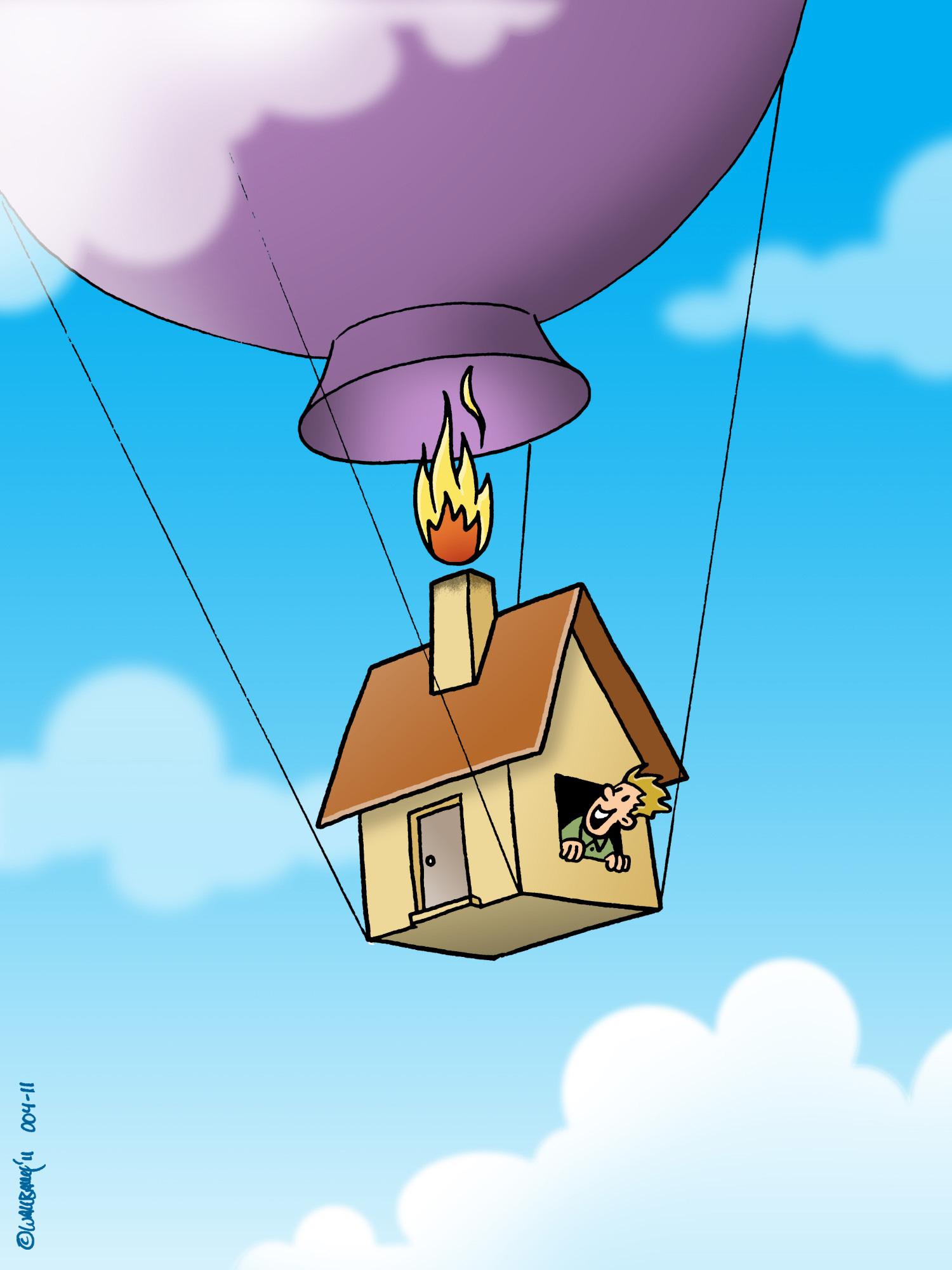 Cartoon Haus fliegt