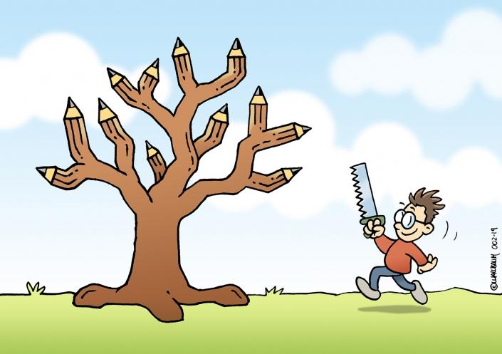 Cartoon Bleistiftbaum