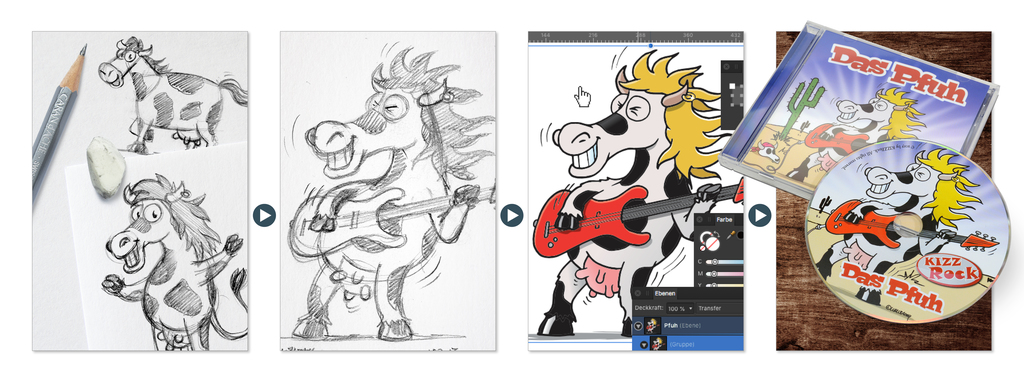 Character Design Das Pfuh halb Pferd halb Kuh