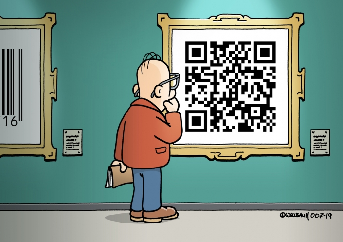 Cartoon zum Thema moderne Kunst und Digitalisierung