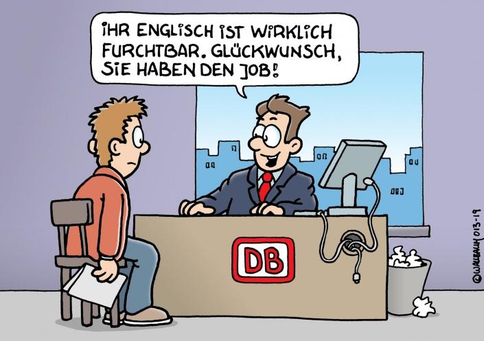 Cartoon über die Deutsche Bahn