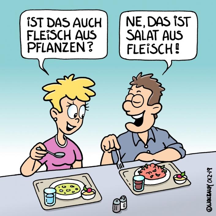 Cartoon zum Thema vegetarisches Essen
