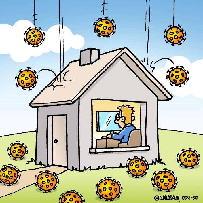 Cartoon zum Thema Coronavirus und Homeoffice