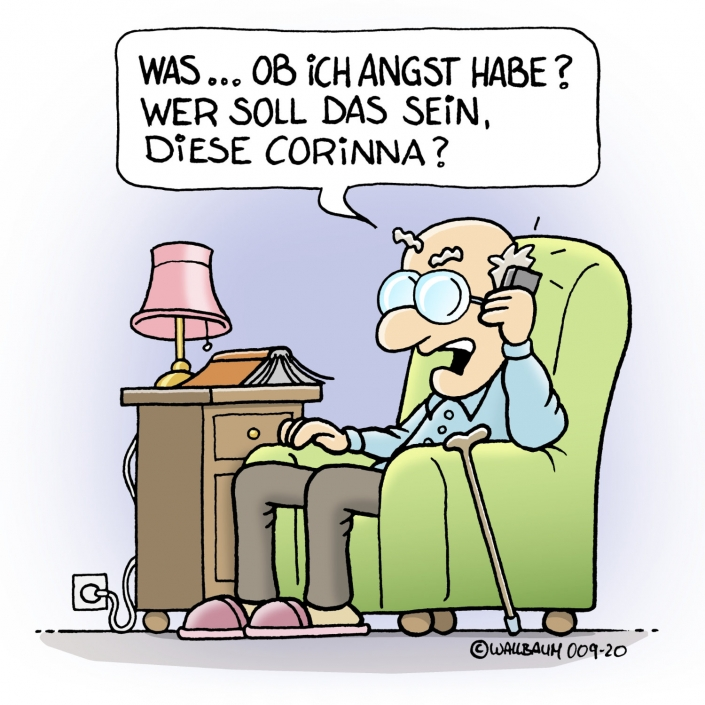 Cartoon über Senioren, der Coronavirus-Risikogruppe