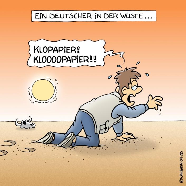 Cartoon über deutsche Hamsterkäufe von Klopapier