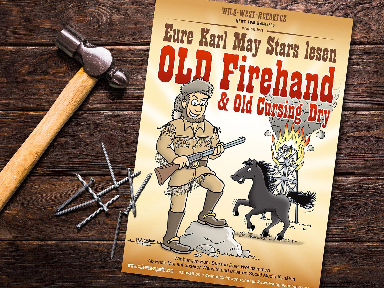 Plakat zur Videolesung von Karl-May-Geschichte Old Firehand